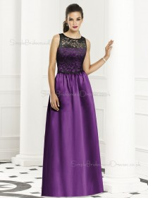 Dropped Sleeveless Satin Bateau Lace-Ruched A-line Purple Floor-length Bridesmaid Dress