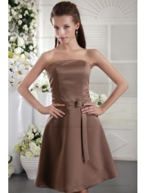 Brown Sheath Bow/Ribbons Natural Satin Zipper Short-length Strapless Sleeveless Bridesmaid Dress