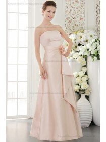 Sleeveless Strapless Indy-Pink Sheath Natural Flowers/Side-Draped Satin Sweep Lace-up Bridesmaid Dress