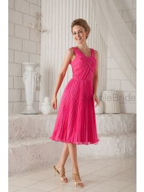 Pink Natural Sleeveless Ruched Silk-like Knee-Length Stain Square Zipper Chiffon/Elastic A-line Bridesmaid Dress