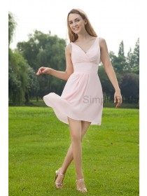Knee-Length Ruched Natural Pink Sleeveless V-neck Chiffon Zipper A-line Bridesmaid Dress