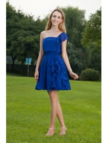 Blue Chiffon Zipper Mini A-line One-Shoulder Short-Sleeve Natural Draped Bridesmaid Dress