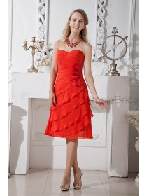 Flowers/Ruched Sweetheart Sleeveless Zipper Chiffon Sheath Natural Red Knee-length Bridesmaid Dress