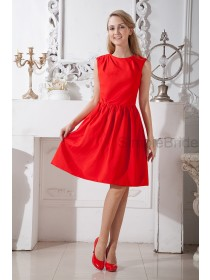 Scoop Natural A-line Zipper Sleeveless Knee-length Ruched Red Satin Bridesmaid Dress