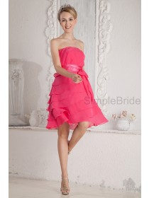 Sleeveless Knee-length A-line Strapless Natural Chiffon/Elastic-Silk-like-Satin Belt/Ruched Zipper Pink Bridesmaid Dress
