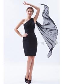 Sheath Sleeveless Mini Ruched/Belt Chiffon Zipper Natural One-Shoulder Black Bridesmaid Dress