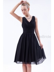 Black Sleeveless Zipper A-line Chiffon Natural Knee-length Ruched V-neck Bridesmaid Dress