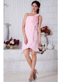 Pink Knee-length Ruched/Flowers/Crystal Chiffon One-Shoulder Zipper Dropped Sleeveless A-line Bridesmaid Dress