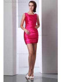 Sheath Zipper Ruched Sleeveless Elastic-Silk-like-Satin Pink Natural straps/Square Mini Bridesmaid Dress