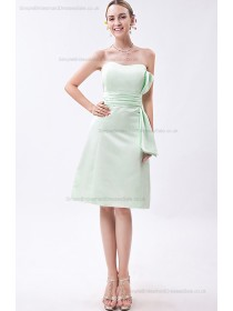A-line Satin Sage Knee-length Sweetheart Sleeveless Belt/Ruched/Bow Zipper Natural Bridesmaid Dress
