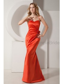Floor-length Satin Orange Natural Mermaid Sleeveless Ruched/Flowers Zipper Spaghetti-Straps Bridesmaid Dress