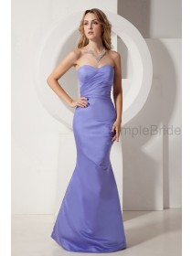 Sleeveless Ruched Satin Floor-length Mermaid Lavender Zipper Sweetheart Empire Bridesmaid Dress