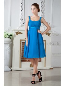 A-line Sleeveless Ruched Chiffon Square Zipper Knee-length Blue Empire Bridesmaid Dress