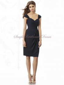 Mini midnight Zipper Sweetheart Natural Ruched Short-Sleeve Chiffon Dark-Navy Short-length Bridesmaid Dress