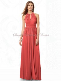 Chiffon Zipper Draped Floor-length A-line Halter Natural Watermelon firecracker Sleeveless Bridesmaid Dress