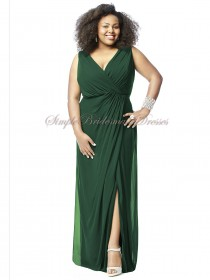 Column/Sheath Dark Empire Sleeveless Floor-length Draped/Split Green Zipper Hampton-Green V-neck Chiffon Bridesmaid Dress