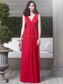V-neck Chiffon Floor-length A-line Red Sleeveless Zipper flame Draped Empire Bridesmaid Dress