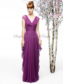 Lilac Zipper A-line Chiffon V-neck wild-berry Floor-length Draped Sleeveless Empire Bridesmaid Dress