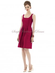 Burgundy Sleeveless A-line sangria Short-length Ruffles Zipper Chiffon Natural Bateau/Straps Bridesmaid Dress