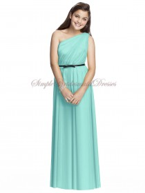 Coastal A-line Floor-length Sleeveless Draped/Sash Zipper Blue Natural Chiffon One-Shoulder Bridesmaid Dress