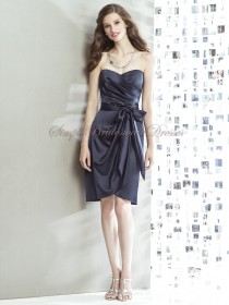 Knee-length Mini Sleeveless Natural Satin Strapless/Sweetheart Dark-Navy Bow midnight Zipper Bridesmaid Dress