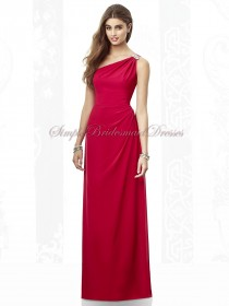 Beading Floor-length Empire Chiffon Fuchsia Column/Sheath valentine One-Shoulder Zipper Sleeveless Bridesmaid Dress