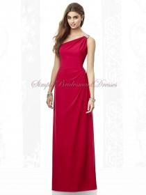 Beading Floor-length Empire Chiffon Fuchsia Column/Sheath valentine One-Shoulder Zipper Sleeveless Bridesmaid Dress