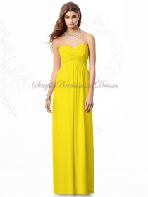 Sleeveless Citrus Column/Sheath Ruched Chiffon Floor-length Empire Strapless/Sweetheart Daffodil Zipper Bridesmaid Dress