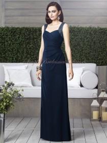 Straps/V-neck Draped Sleeveless Column/Sheath Chiffon midnight Zipper Floor-length Natural Dark-Navy Bridesmaid Dress