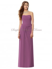 Floor-length Lilac Sash/Draped Radiant Zipper Sleeveless Natural Column/Sheath Chiffon Strapless Orchid Bridesmaid Dress