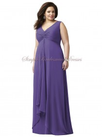 regalia Straps/V-neck Floor-length Chiffon Empire Zipper Sleeveless Draped A-line Purple Bridesmaid Dress