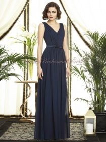 Chiffon Zipper Natural Dark-Navy Draped/Sash midnight Sleeveless A-line Straps/V-neck Floor-length Bridesmaid Dress