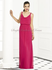 Floor-length Draped Straps posie Fuchsia Chiffon Sleeveless Empire Zipper Column/Sheath Bridesmaid Dress