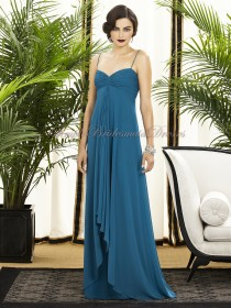 Empire Zipper ocean-blue Blue Sleeveless Floor-length A-line Chiffon Straps/Sweetheart Ruched Bridesmaid Dress