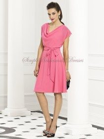 Cowl Draped/Bow A-line Pink punch Natural Chiffon Zipper Short-Sleeve Knee-length Bridesmaid Dress