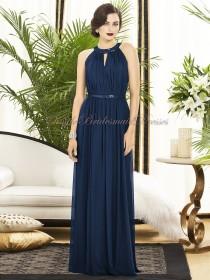 Jewel Floor-length Draped/Sash Zipper-Side A-line Chiffon Natural Sleeveless midnight Dark-Navy Bridesmaid Dress