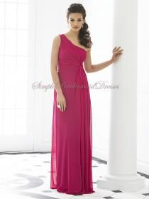 A-line Floor-length tutti-frutti One-Shoulder Sleeveless Chiffon Ruched Fuchsia Zipper Dropped Bridesmaid Dress