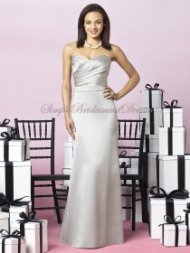 Sleeveless Silver oyster Floor-length Natural Satin Zipper A-line Ruched Strapless/Sweetheart Bridesmaid Dress