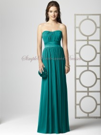 A-line Empire jade Strapless/Bateau Draped/Sash Sleeveless Zipper Hunter Floor-length Chiffon Bridesmaid Dress