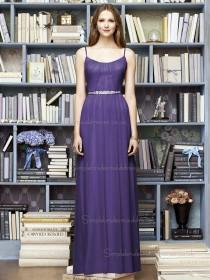 Regalia / Purple Chiffon A-line Natural Bateau / Spaghetti Floor-length Sleeveless Draped / Sash Straps Bridesmaid Dress