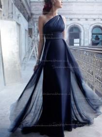 Dark Navy Empire Column / Sheath Floor-length Chiffon One Shoulder Bridesmaid Dress