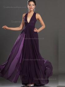 Grape A-line Floor-length Empire V-neck Chiffon Bridesmaid Dress
