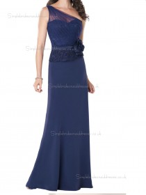 Dark Navy Floor-length Natural One Shoulder Chiffon Column / Sheath Bridesmaid Dress