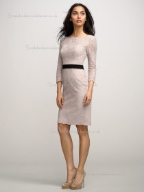 Pink Column / Sheath Natural Lace Knee-length Bateau Bridesmaid Dress