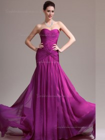 Fuchsia A-line Chiffon Sweep Empire Sweetheart Bridesmaid Dress