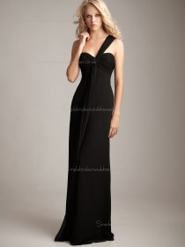 Black Natural Sweetheart Chiffon Sweep Column / Sheath Bridesmaid Dress