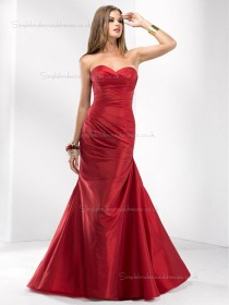 Red Empire Mermaid Satin Sweetheart Floor-length Bridesmaid Dress