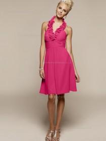 Red Knee-length V-neck Chiffon A-line Empire Bridesmaid Dress