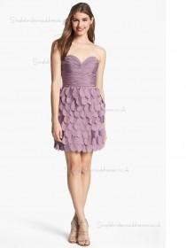 Lilac Natural A-line Sweetheart Short-length Bridesmaid Dress