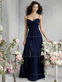 Dark Navy Floor-length Chiffon Empire Sweetheart A-line Bridesmaid Dress